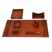 Italian Patent Leather 7-Piece Desk Set