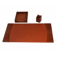 Italian Patent Leather 3-Piece Desk Set